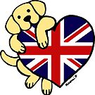 Union Jack British Heart Yellow Labrador  by HappyLabradors