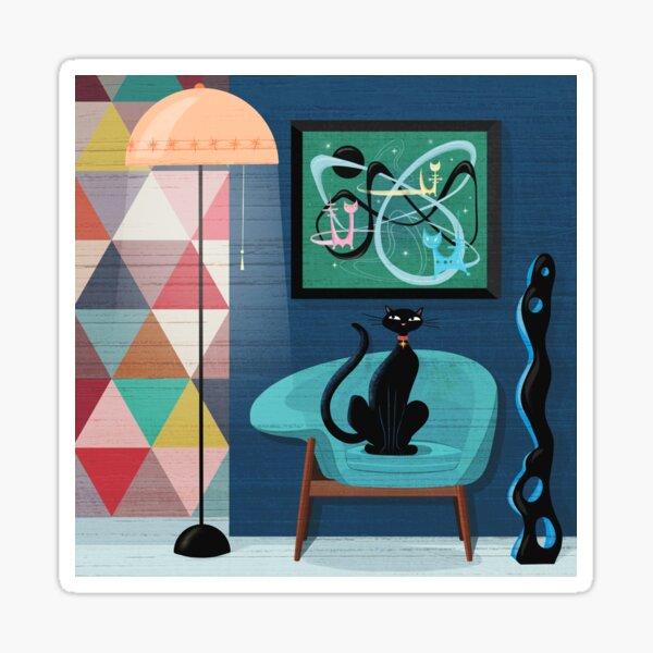 Creature Comforts Mid-Century Interior With Black Cat Sticker