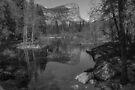 Yosemite Iconic Mirror Lake Black and White by photosbyflood