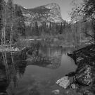 Yosemite Iconic Mirror Lake Black and White by photosbyflood