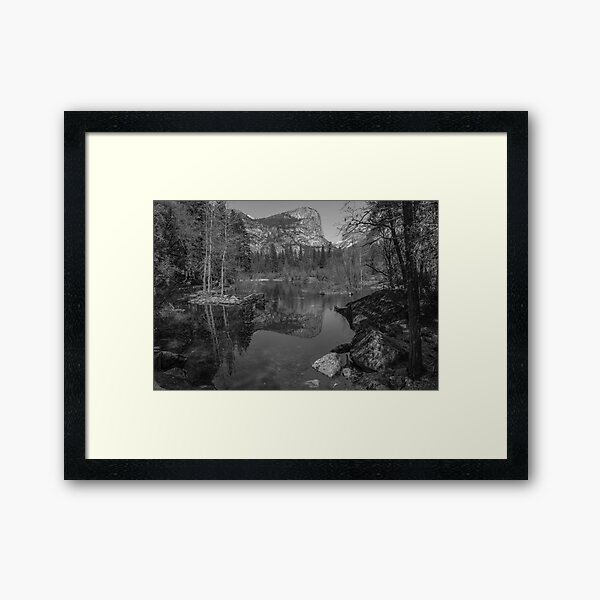 Yosemite Iconic Mirror Lake Black and White Framed Art Print