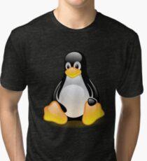 Tux Mascot T-Shirt Penguin Linux Glossy Logo Tri-blend T-Shirt
