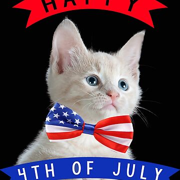 Happy 4th Of July Cute Cat Independece Day ,American Bow Tie by zaysa