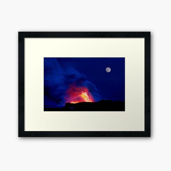 Moon Over Kilauea Volcano at Kalapana  Framed Art Print
