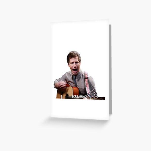 Jake Peralta screaming with guitar Greeting Card
