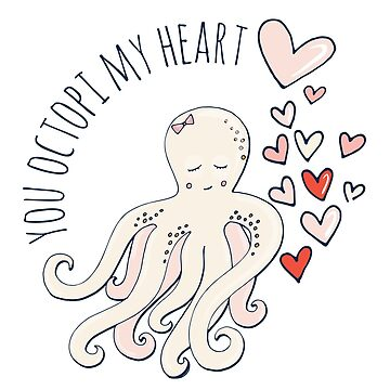 Cute Love Octopus, Valentine Romance by carriestephens