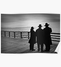 Enjoying a chilly spring afternoon on the pier Poster