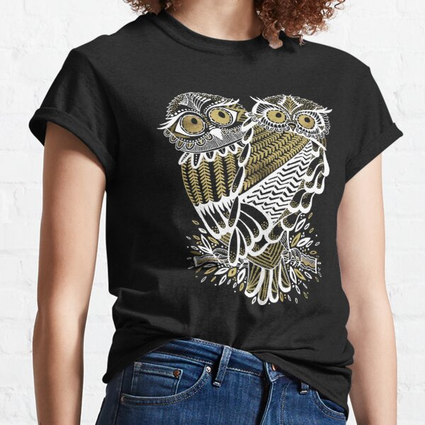 Owls – Gold & White on Charcoal Classic T-Shirt