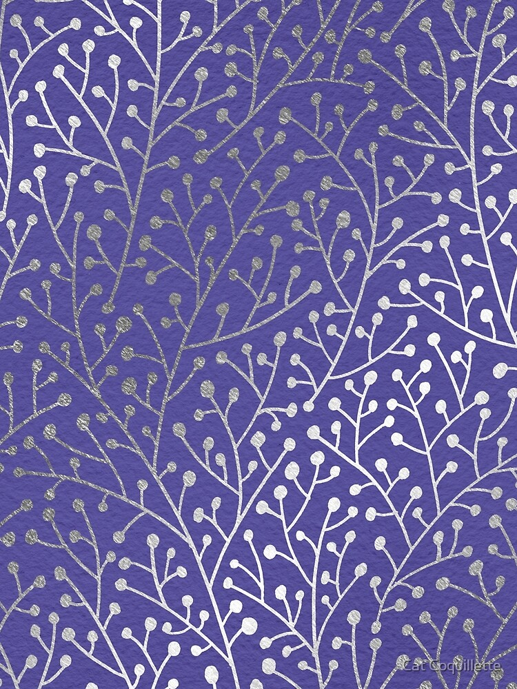 Silver Berry Branches on Periwinkle by catcoq