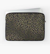 Gold Berry Branches auf Schwarzem Laptoptasche