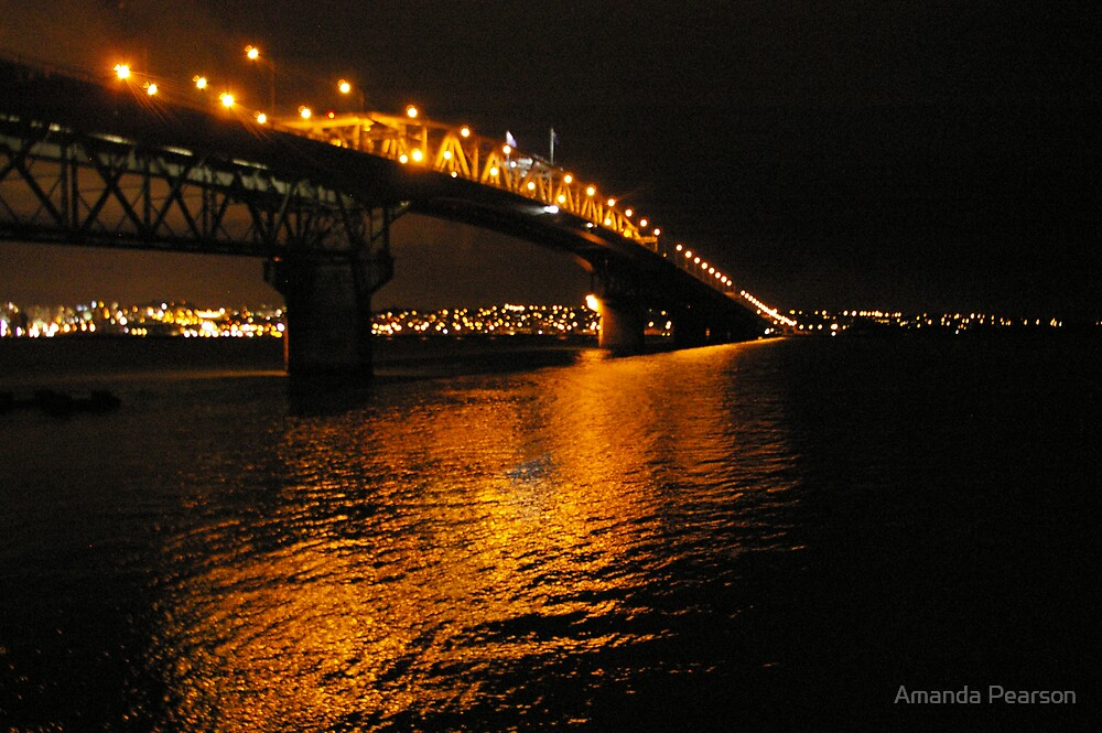 Auckland Harbour Bridge by Night by Amanda Pearson