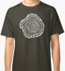 Tree Rings – White Ink on Kraft Classic T-Shirt