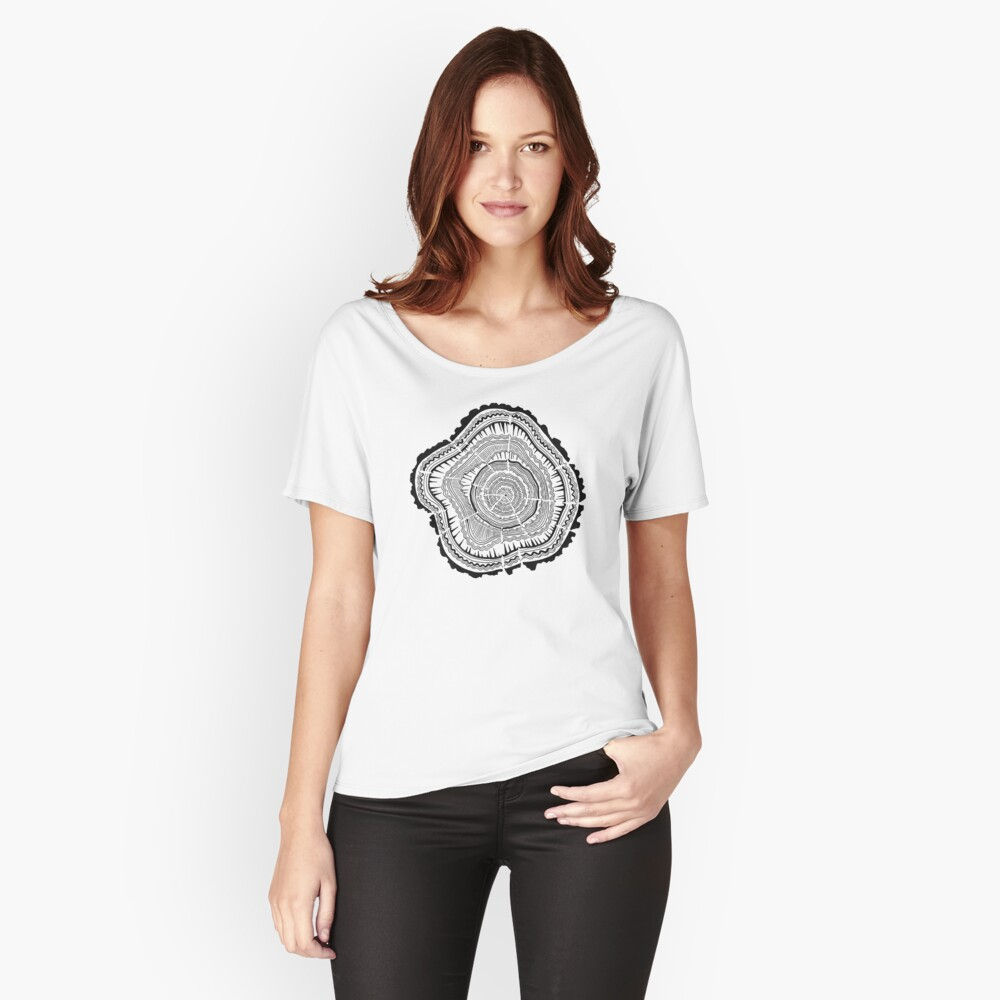 Tree Rings – Black on White Women's Relaxed Fit T-Shirt Front