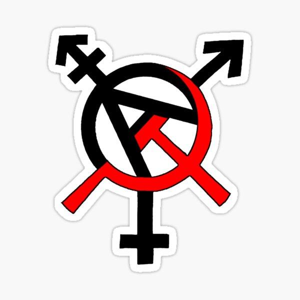 Símbolo Anarco-Comunismo Post-Género Ⓐ☭ Pegatina