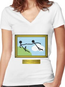 The Creation of (Stick)Man Women's Fitted V-Neck T-Shirt