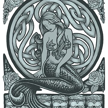Sailors Grave Classic Art Nouveau Mermaid by RobertoJL