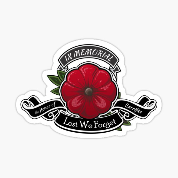 Fridge Window Poppy Flower Decal premiumstickers Lest We Forget Army Flag Remembrance Day Sticker Car Laptop Sticker Small - 5x5cm