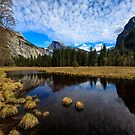 Yosemite Half Dome Reflection by photosbyflood