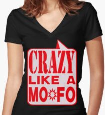 CRAZY MOFO Women's Fitted V-Neck T-Shirt