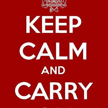 Keep Calm Carry On Calgary White by bookermorgan