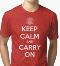 Keep Calm Carry On Calgary White Tri-blend T-Shirt