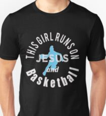 Awesome Christian Gift  This Girl Runs on Jesus and Basketball Unisex T-Shirt