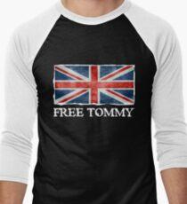 Free Tommy Robinson Shirt, Free Speech Tee, UK Politics Men's Baseball ¾ T-Shirt