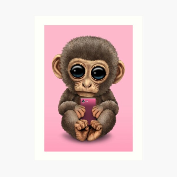 Cute Baby Monkey Holding a Pink Cell Phone  Art Print