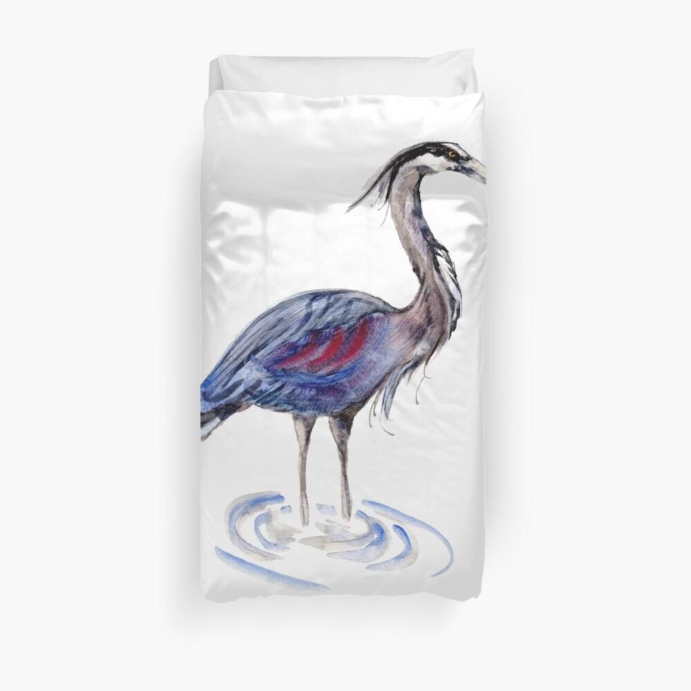Blue Heron Bird Duvet Cover