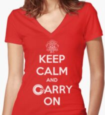 Keep Calm Carry On Calgary White Women's Fitted V-Neck T-Shirt