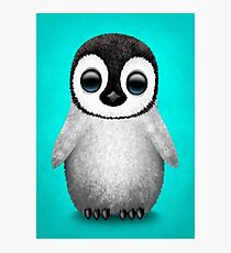 Cute Baby Penguin on Blue Photographic Print