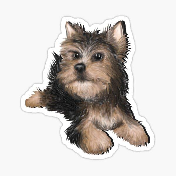 Alert Young Yorkshire Terrier Puppy Sticker
