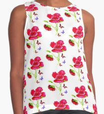 Poppies and Butterflies Contrast Tank