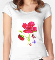 Poppies and Butterflies Women's Fitted Scoop T-Shirt