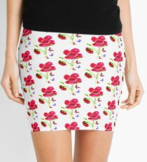 Poppies and Butterflies Mini Skirt