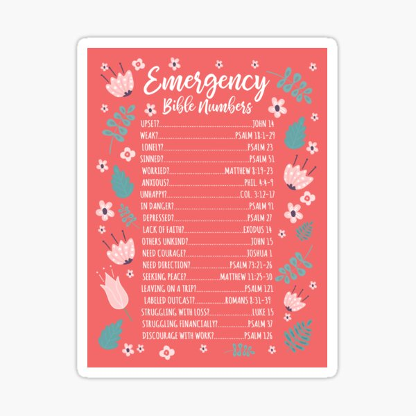 EMERGENCY BIBLE NUMBERS (FLORAL) Sticker