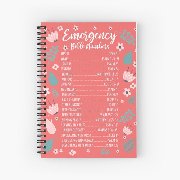 EMERGENCY BIBLE NUMBERS (FLORAL) Spiral Notebook