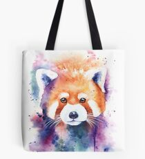 Red Panda Splash Watercolor Tote Bag
