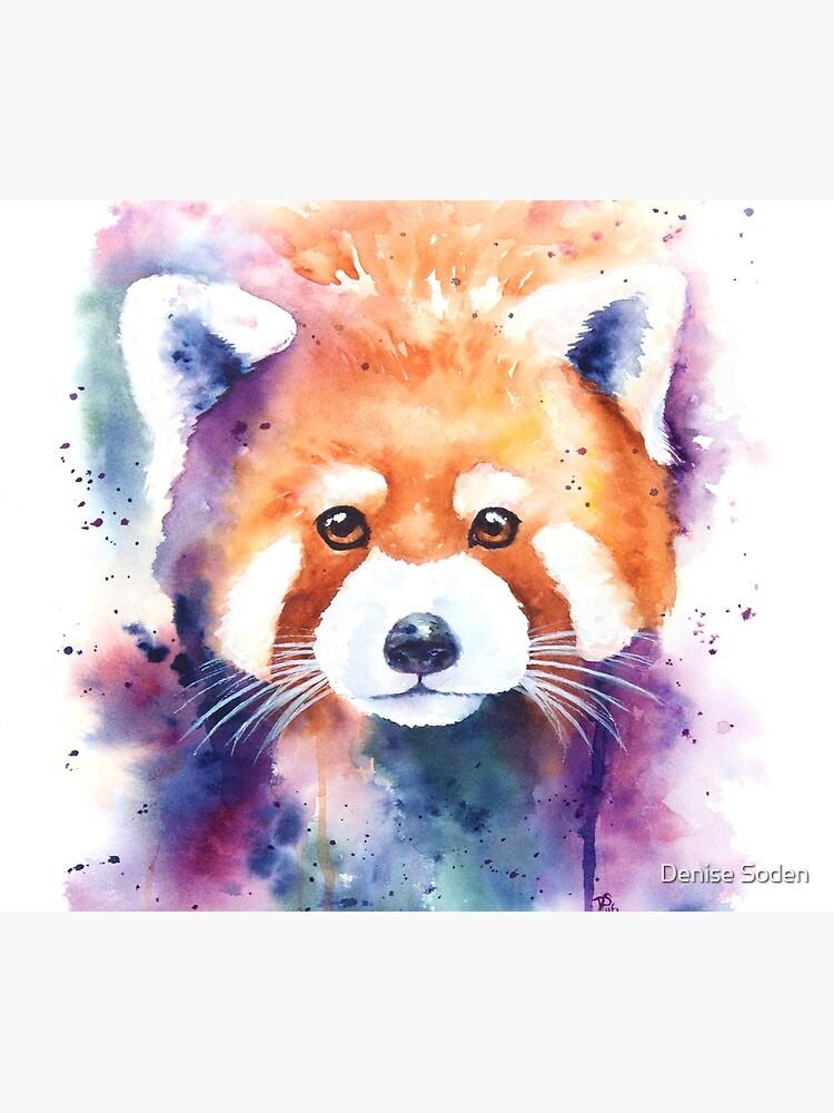 Red Panda Splash Watercolor de denisesoden