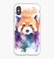 Red Panda Splash Watercolor iPhone Case