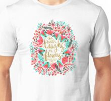 The Earth Laughs in Flowers – Pink & Gold Unisex T-Shirt