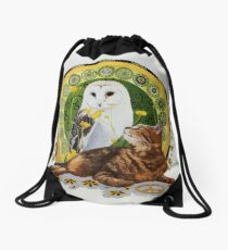 The Owl and the Pussycat Find Peace Drawstring Bag