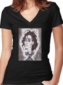 Victorian Gothic Dark Caricature Drawing Women's Fitted V-Neck T-Shirt