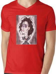 Victorian Gothic Dark Caricature Drawing Mens V-Neck T-Shirt