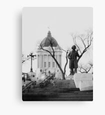 Winnipeg, Legislature & Louis Riel Statue Canvas Print