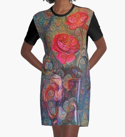 Roses #DeepDreamed Graphic T-Shirt Dress