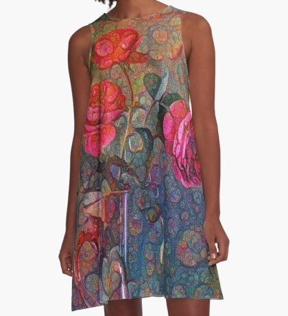Roses #DeepDreamed A-Line Dress