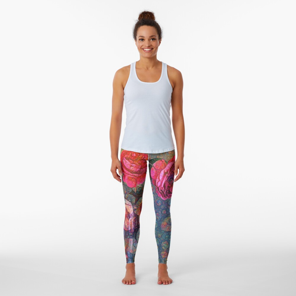 Roses #DeepDreamed Leggings