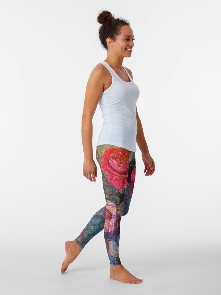 Alternate view of Roses #DeepDreamed Leggings