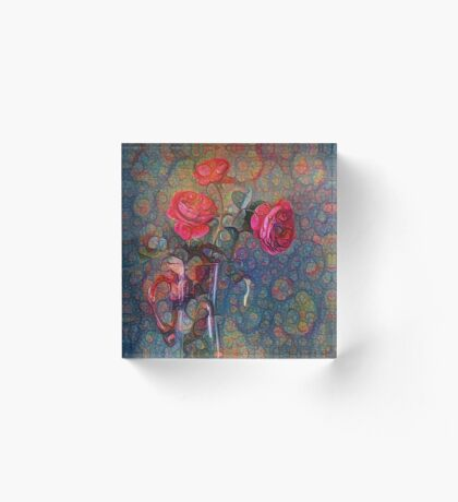 Roses #DeepDreamed Acrylic Block